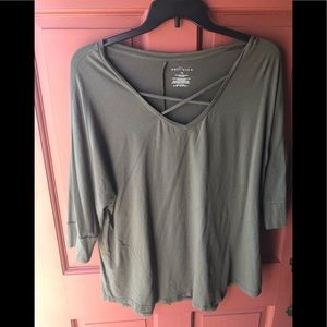 Boutique 1x lace up olive green 3/4 sleeve top